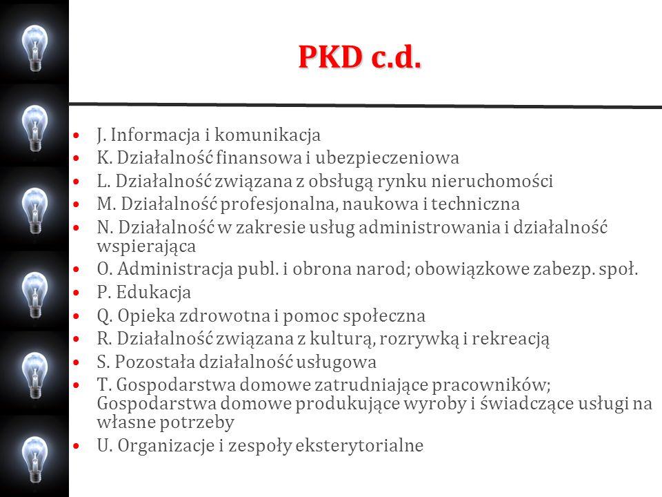 PKD c.d. J. Informacja i komunikacja K. Działalność finansowa i ubezpieczeniowa L. Działalność związana z obsługą rynku nieruchomości M. Działalność p