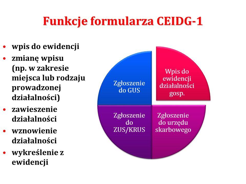 Funkcje formularza CEIDG-1 wpis do ewidencji zmianę wpisu (np. w zakresie miejsca lub rodzaju prowadzonej działalności) zawieszenie działalności wznow