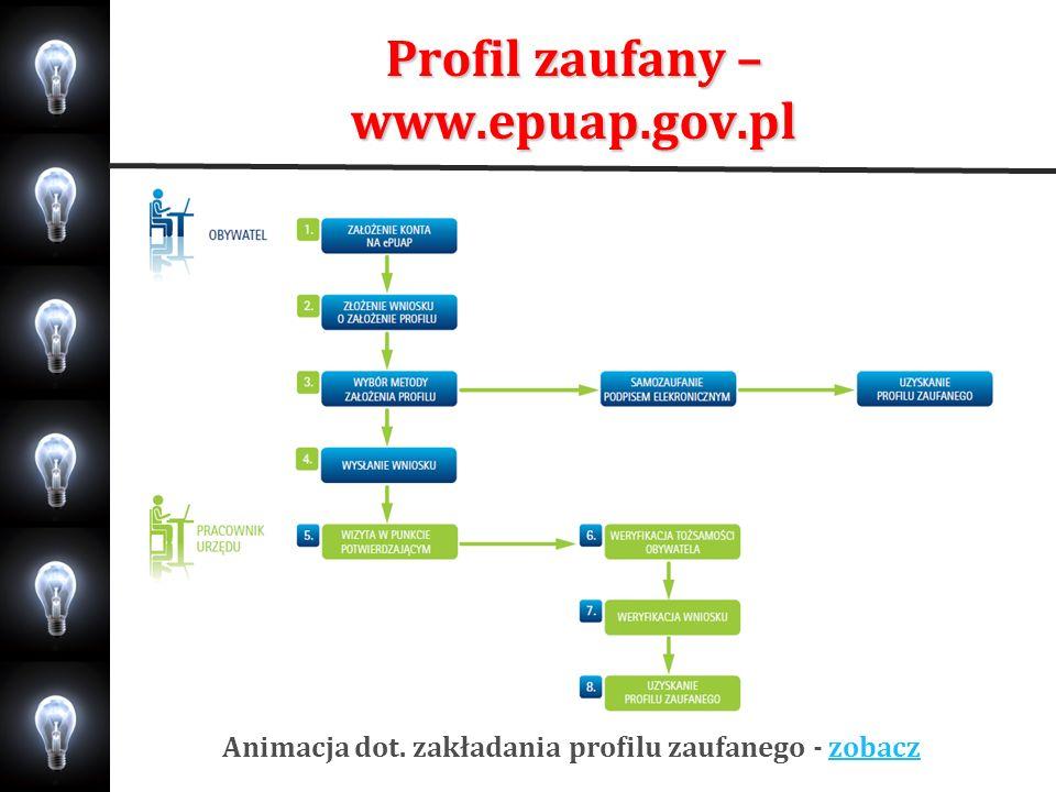 Profil zaufany – www.epuap.gov.pl Animacja dot. zakładania profilu zaufanego - zobaczzobacz
