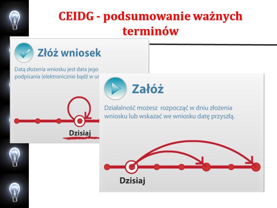 CEIDG - podsumowanie ważnych terminów