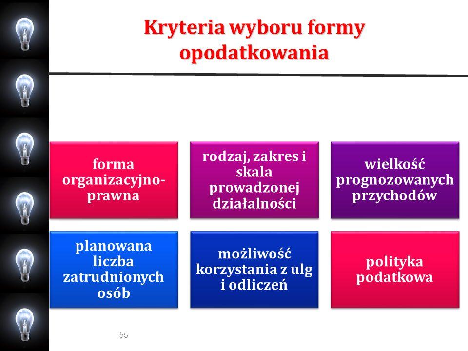 Kryteria wyboru formy opodatkowania 55 forma organizacyjno- prawna rodzaj, zakres i skala prowadzonej działalności wielkość prognozowanych przychodów