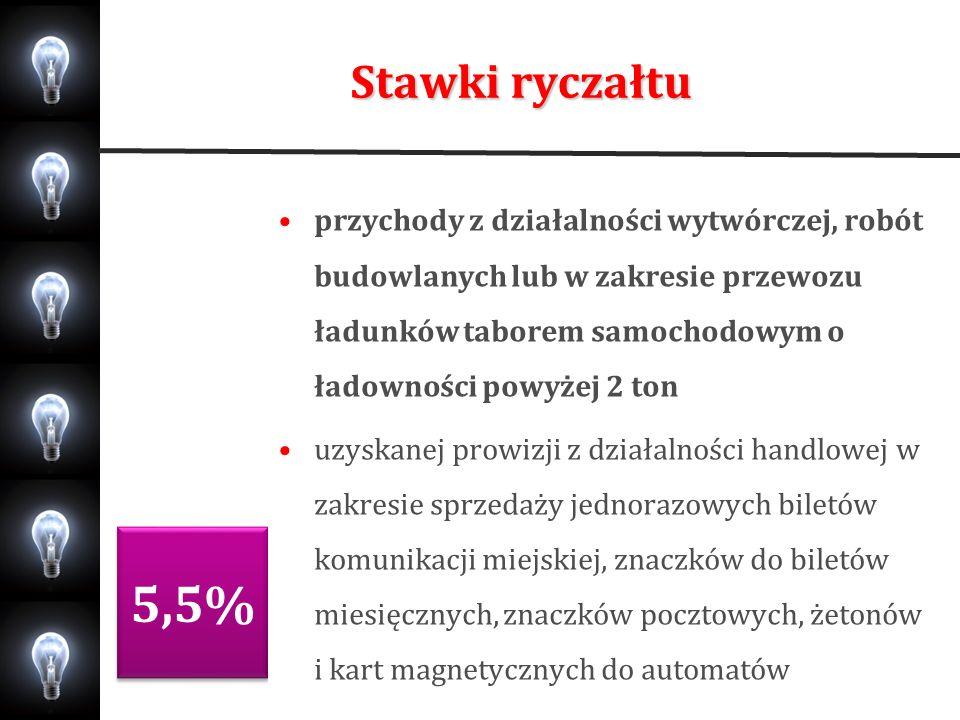 Stawki ryczałtu 5,5% 3% przychody z działalności wytwórczej, robót budowlanych lub w zakresie przewozu ładunków taborem samochodowym o ładowności powy