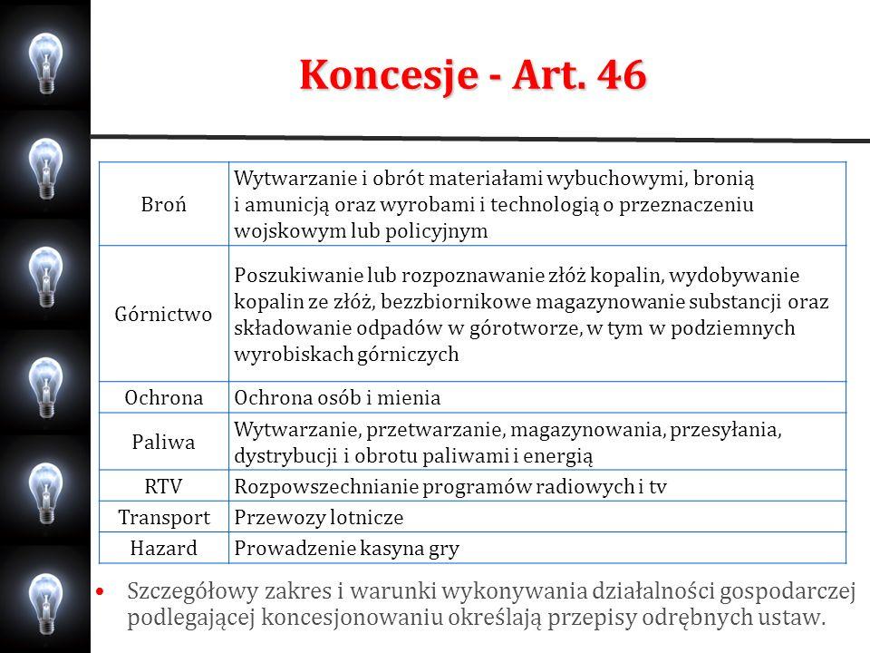 Koncesje - Art. 46 Szczegółowy zakres i warunki wykonywania działalności gospodarczej podlegającej koncesjonowaniu określają przepisy odrębnych ustaw.
