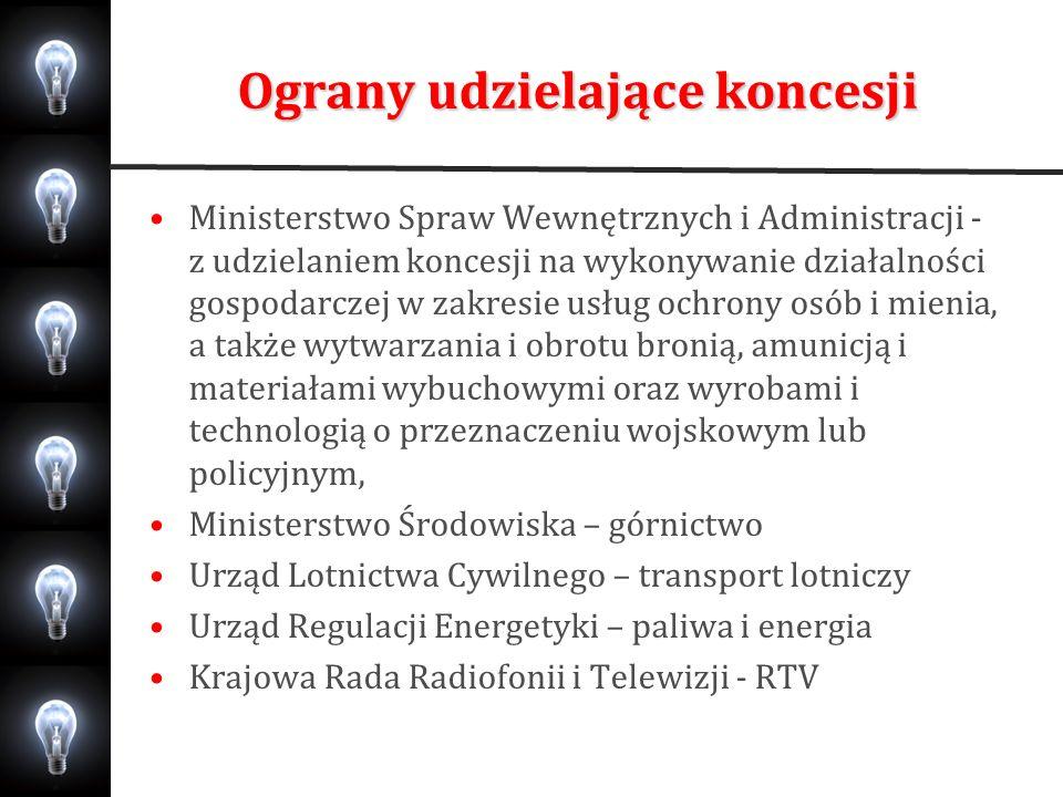 Ograny udzielające koncesji Ministerstwo Spraw Wewnętrznych i Administracji - z udzielaniem koncesji na wykonywanie działalności gospodarczej w zakres