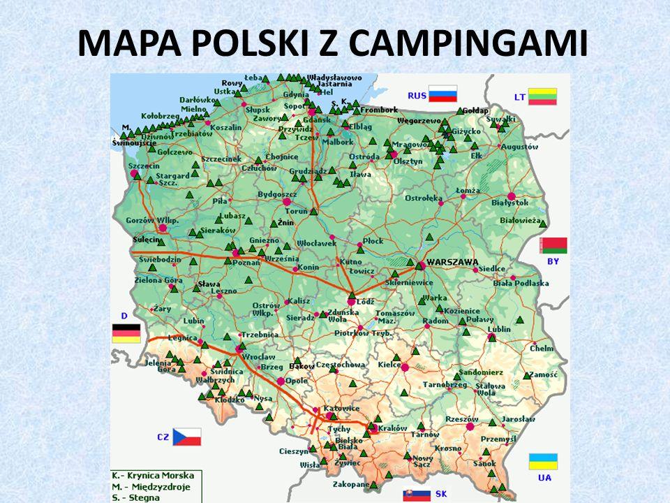 MAPA POLSKI Z CAMPINGAMI