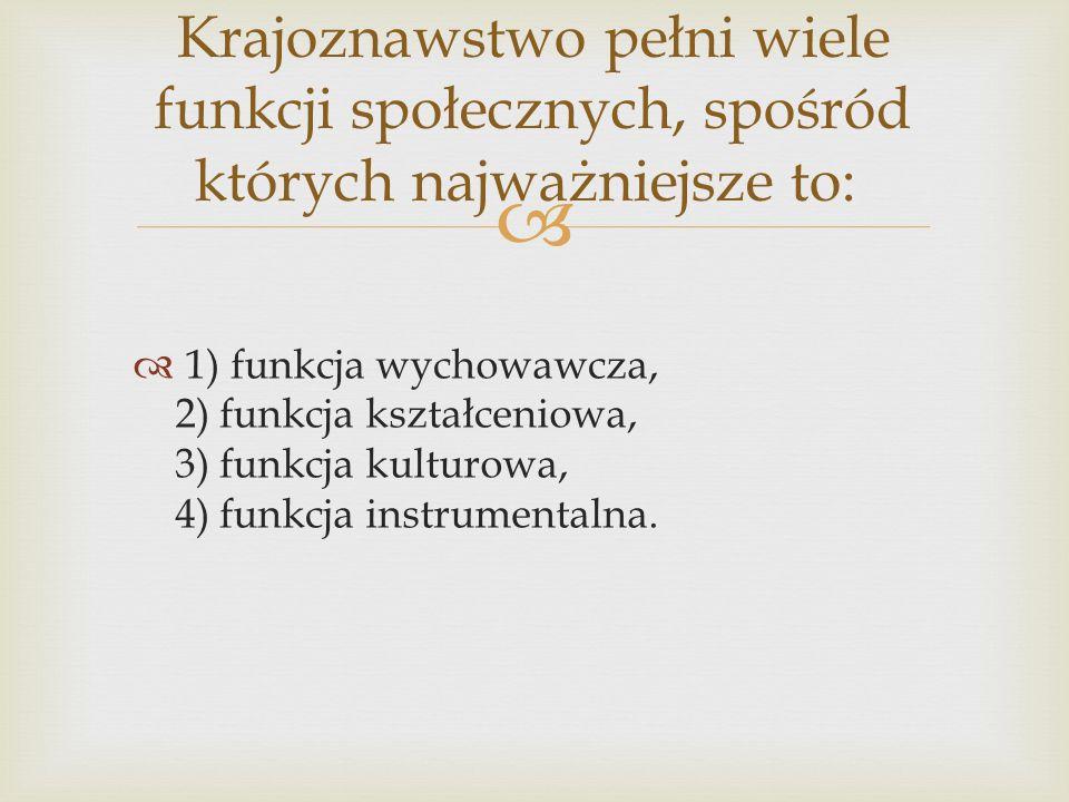 1) funkcja wychowawcza, 2) funkcja kształceniowa, 3) funkcja kulturowa, 4) funkcja instrumentalna. Krajoznawstwo pełni wiele funkcji społecznych, spoś