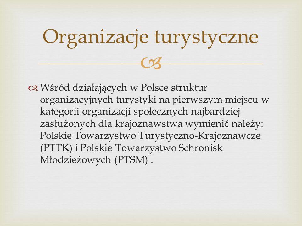 Wśród działających w Polsce struktur organizacyjnych turystyki na pierwszym miejscu w kategorii organizacji społecznych najbardziej zasłużonych dla kr
