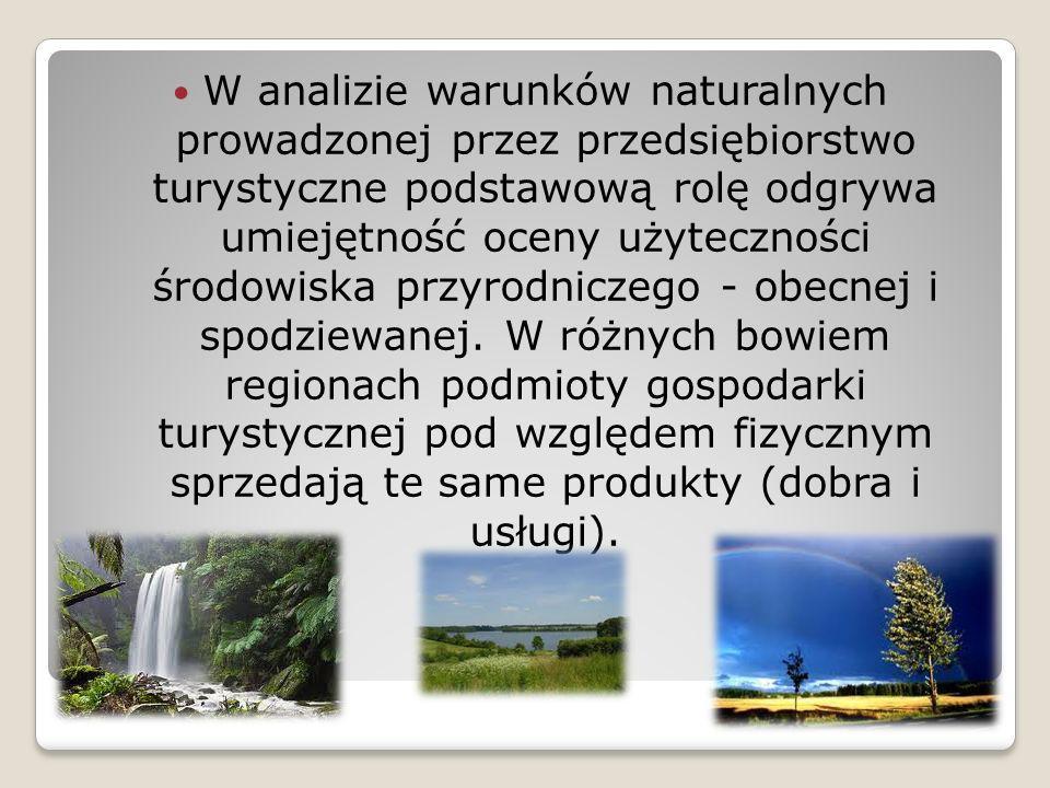 W analizie warunków naturalnych prowadzonej przez przedsiębiorstwo turystyczne podstawową rolę odgrywa umiejętność oceny użyteczności środowiska przyr