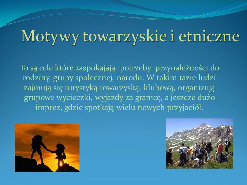 Motywy towarzyskie i etniczne To są cele które zaspokajają potrzeby przynależności do rodziny, grupy społecznej, narodu.