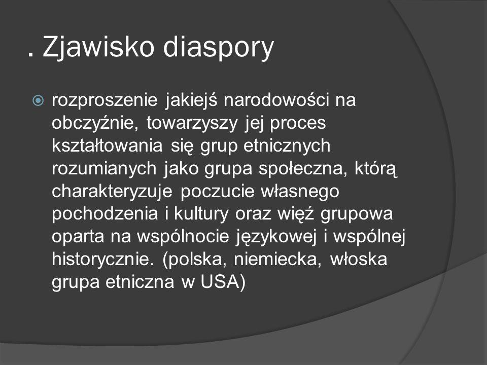 . Zjawisko diaspory rozproszenie jakiejś narodowości na obczyźnie, towarzyszy jej proces kształtowania się grup etnicznych rozumianych jako grupa społ