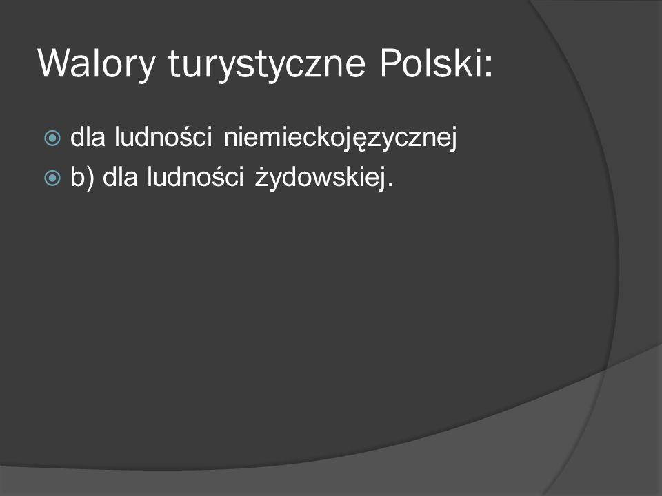 Walory turystyczne Polski: dla ludności niemieckojęzycznej b) dla ludności żydowskiej.
