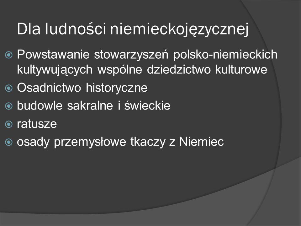 Dla ludności niemieckojęzycznej Powstawanie stowarzyszeń polsko-niemieckich kultywujących wspólne dziedzictwo kulturowe Osadnictwo historyczne budowle