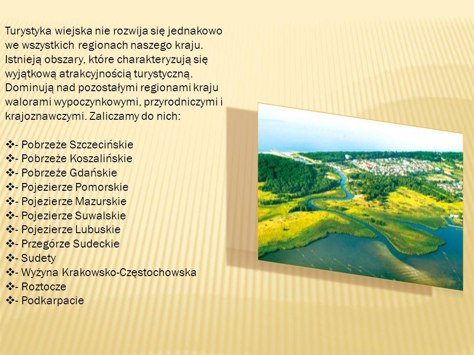 Turystyka wiejska nie rozwija się jednakowo we wszystkich regionach naszego kraju. Istnieją obszary, które charakteryzują się wyjątkową atrakcyjnością
