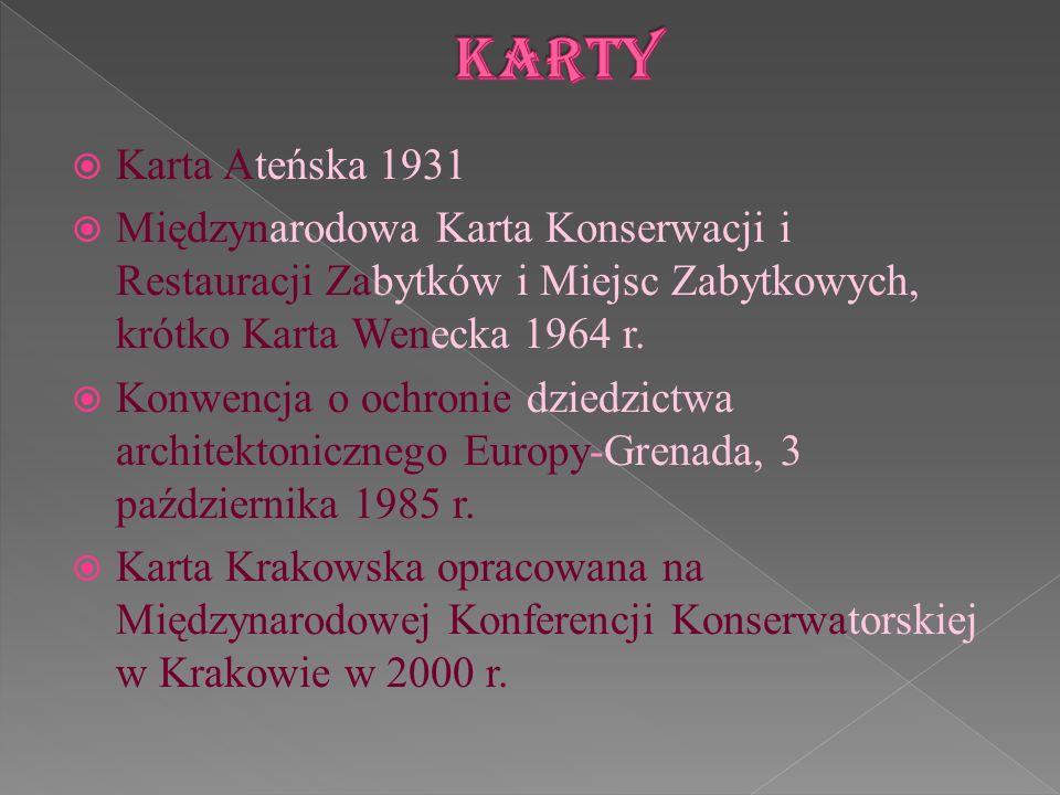 Karta Ateńska 1931 Międzynarodowa Karta Konserwacji i Restauracji Zabytków i Miejsc Zabytkowych, krótko Karta Wenecka 1964 r. Konwencja o ochronie dzi
