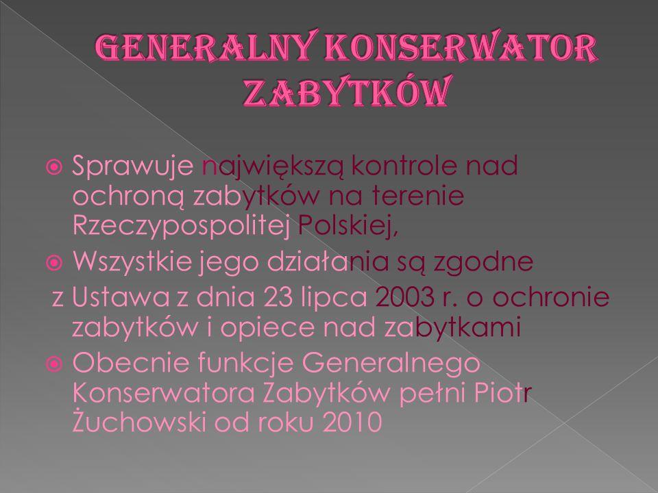 Sprawuje największą kontrole nad ochroną zabytków na terenie Rzeczypospolitej Polskiej, Wszystkie jego działania są zgodne z Ustawa z dnia 23 lipca 20