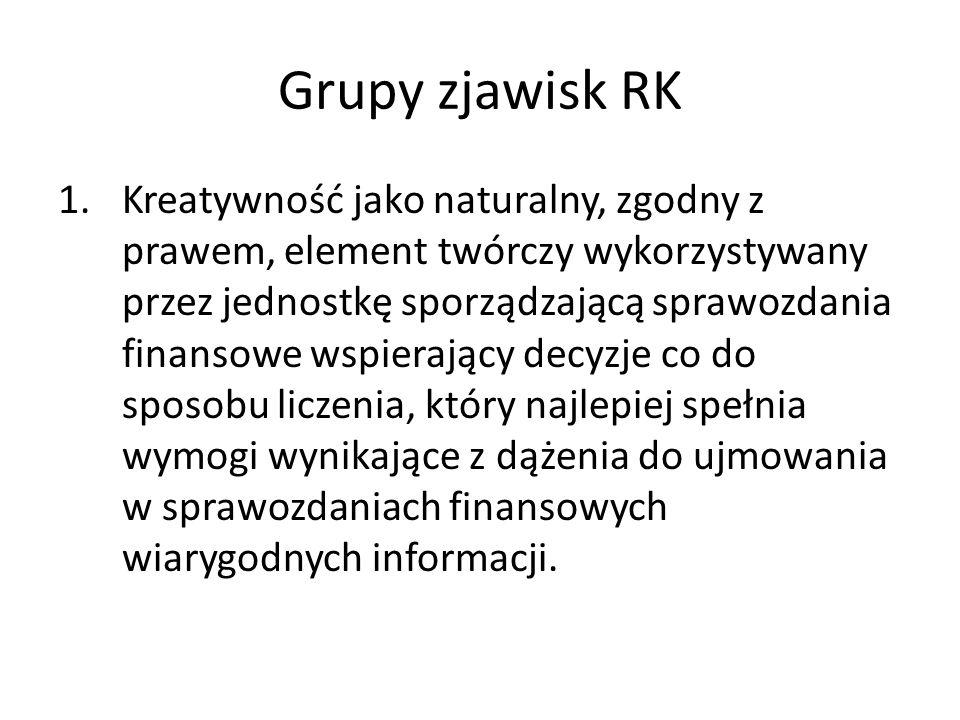 Grupy zjawisk RK 2.Unikanie określonych skutków regulacji obowiązujących w rachunkowości przez zastosowanie technik, które pozwalają na dokonanie pomiaru zgodnie z interesem jednostki sporządzającej sprawozdanie.