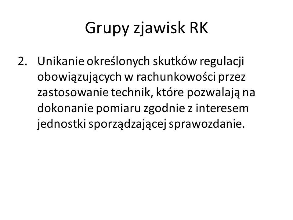 Grupy zjawisk RK 3.Włączenia do sprawozdań finansowych pozycji, które nie były dotychczas przedmiotem regulacji, co łączy się z istotnymi zmianami w praktykach pomiaru w porównaniu ze stosowanymi wcześniej.