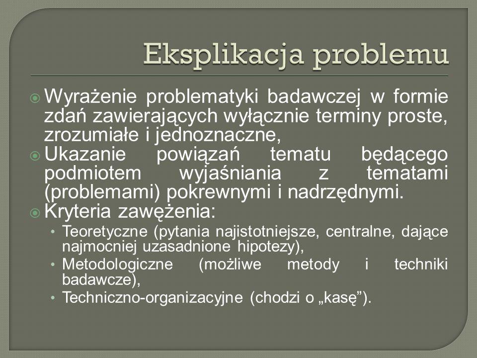 Wyrażenie problematyki badawczej w formie zdań zawierających wyłącznie terminy proste, zrozumiałe i jednoznaczne, Ukazanie powiązań tematu będącego podmiotem wyjaśniania z tematami (problemami) pokrewnymi i nadrzędnymi.