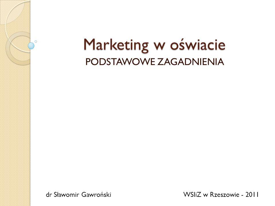 Marketing w oświacie PODSTAWOWE ZAGADNIENIA dr Sławomir GawrońskiWSIiZ w Rzeszowie - 2011