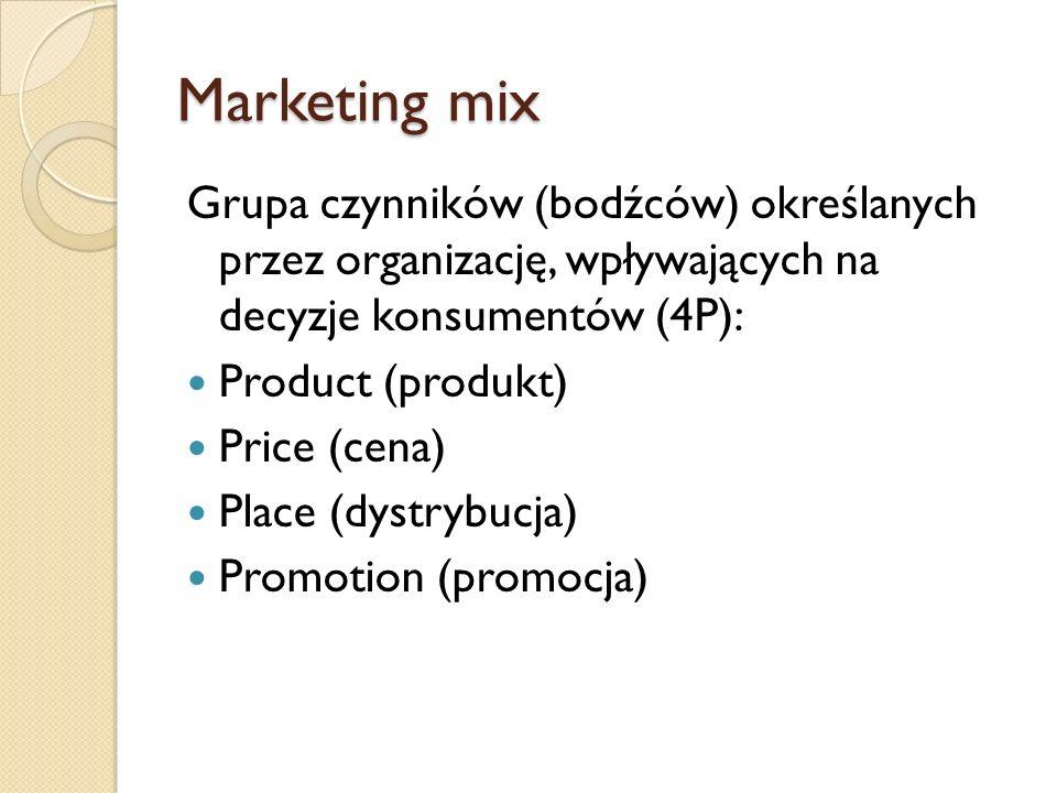 Marketing mix Grupa czynników (bodźców) określanych przez organizację, wpływających na decyzje konsumentów (4P): Product (produkt) Price (cena) Place