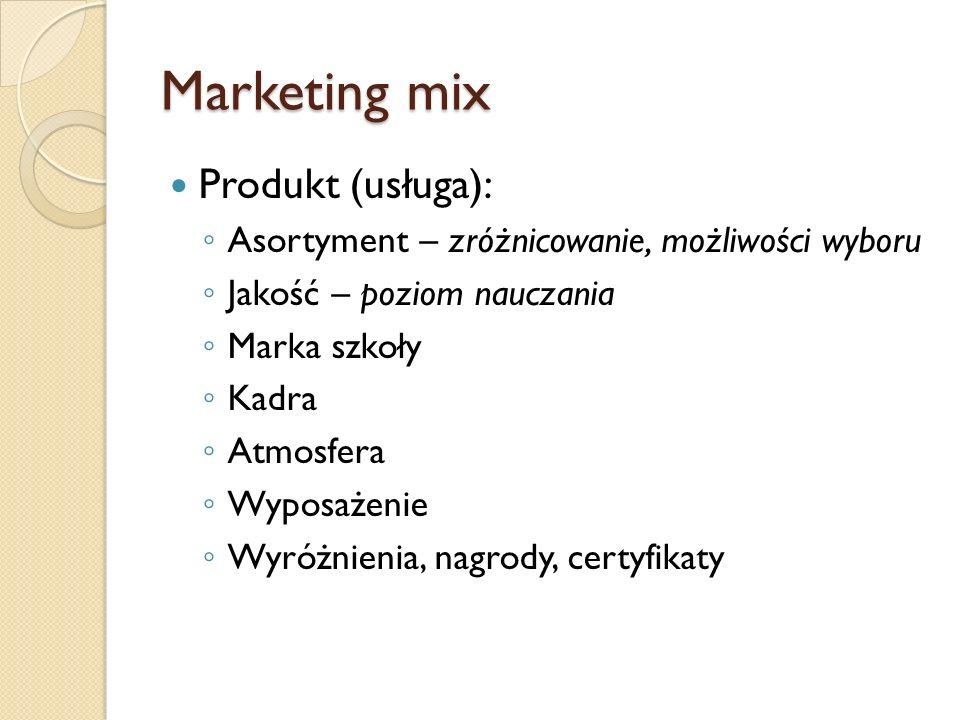 Marketing mix Produkt (usługa): Asortyment – zróżnicowanie, możliwości wyboru Jakość – poziom nauczania Marka szkoły Kadra Atmosfera Wyposażenie Wyróż