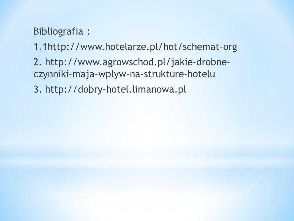 Bibliografia : 1.1http://www.hotelarze.pl/hot/schemat-org 2. http://www.agrowschod.pl/jakie-drobne- czynniki-maja-wplyw-na-strukture-hotelu 3. http://