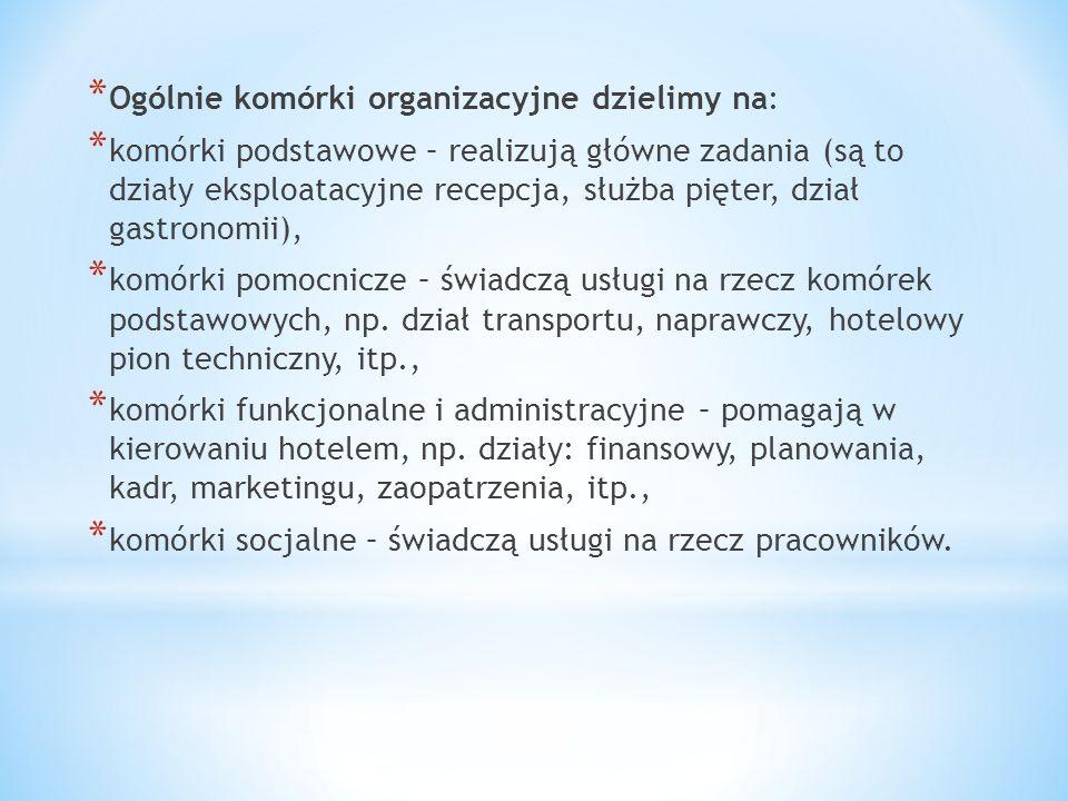 * Ogólnie komórki organizacyjne dzielimy na: * komórki podstawowe – realizują główne zadania (są to działy eksploatacyjne recepcja, służba pięter, dzi