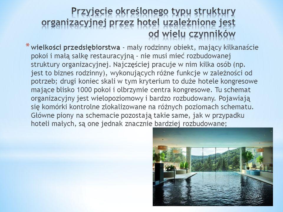 * wielkości przedsiębiorstwa - mały rodzinny obiekt, mający kilkanaście pokoi i małą salkę restauracyjną - nie musi mieć rozbudowanej struktury organi