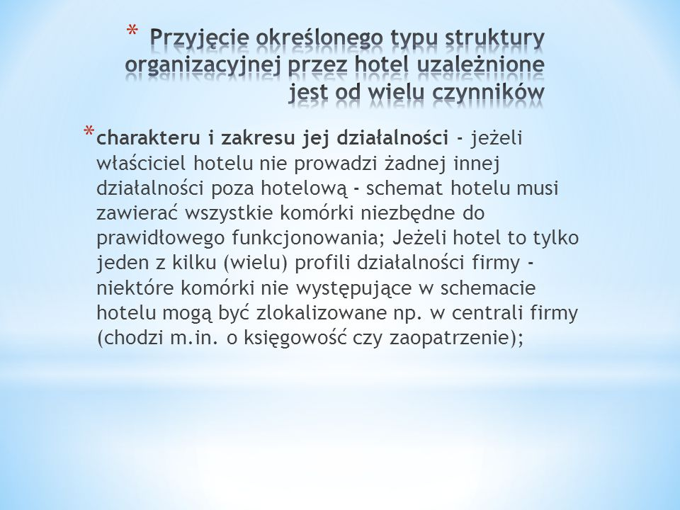 * charakteru i zakresu jej działalności - jeżeli właściciel hotelu nie prowadzi żadnej innej działalności poza hotelową - schemat hotelu musi zawierać