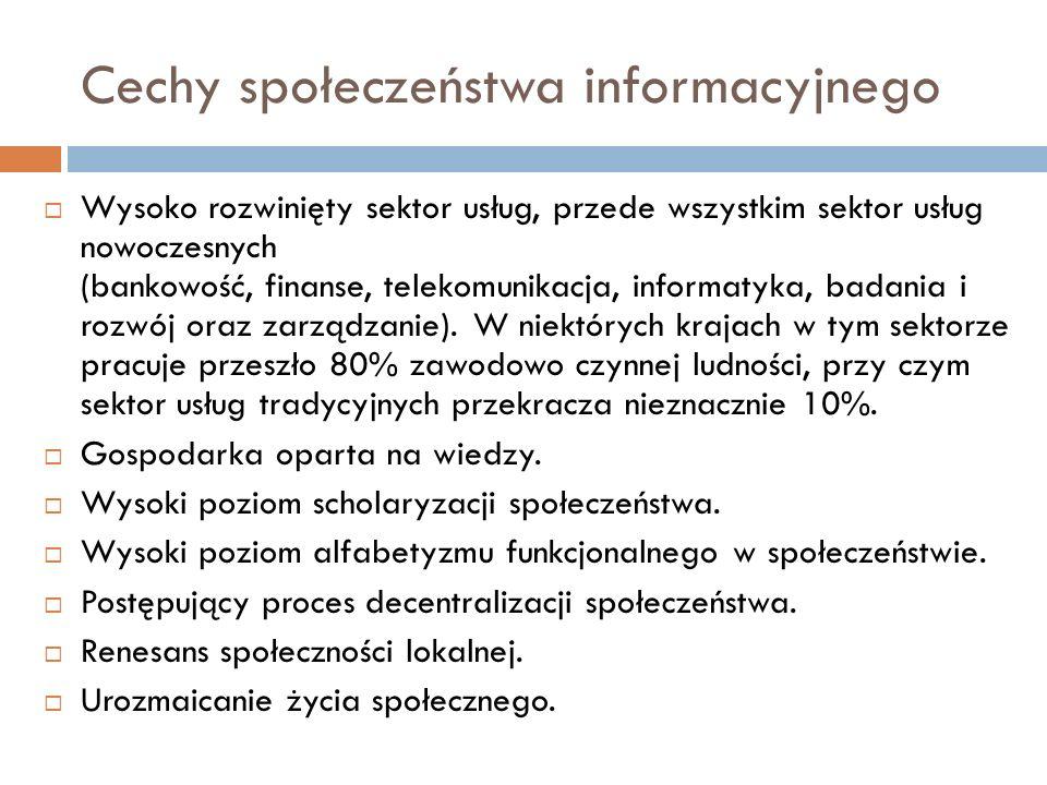Cechy społeczeństwa informacyjnego Wysoko rozwinięty sektor usług, przede wszystkim sektor usług nowoczesnych (bankowość, finanse, telekomunikacja, in