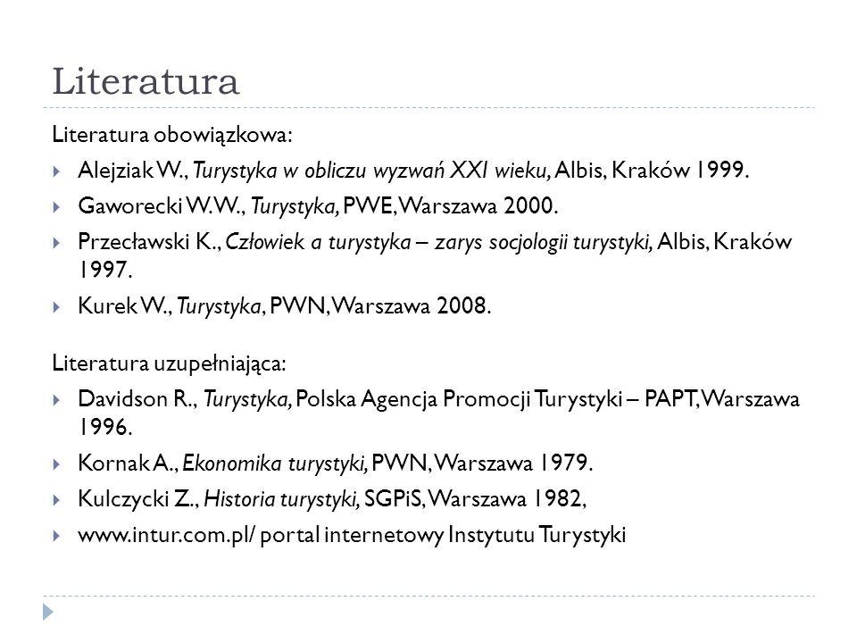 Literatura Literatura obowiązkowa: Alejziak W., Turystyka w obliczu wyzwań XXI wieku, Albis, Kraków 1999. Gaworecki W. W., Turystyka, PWE, Warszawa 20