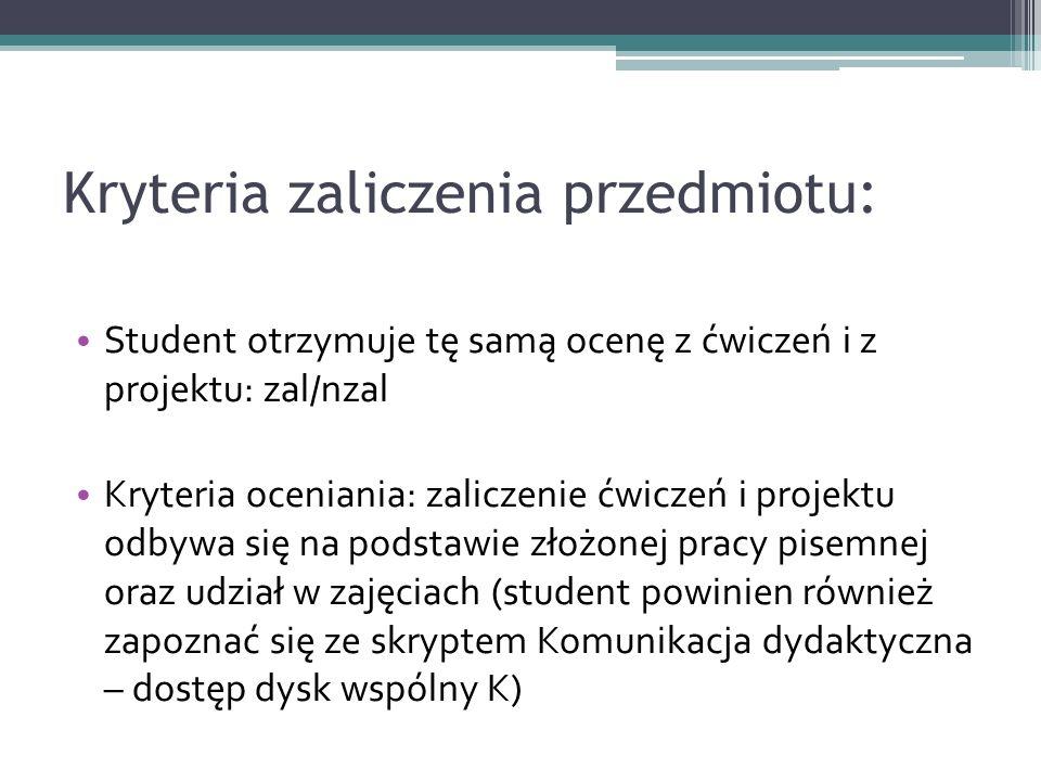 Kryteria zaliczenia przedmiotu: Student otrzymuje tę samą ocenę z ćwiczeń i z projektu: zal/nzal Kryteria oceniania: zaliczenie ćwiczeń i projektu odb
