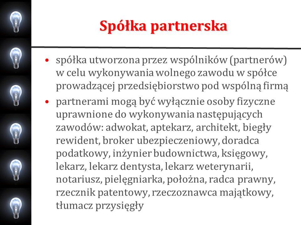 Spółka partnerska spółka może być zawiązana w celu wykonywania więcej niż jednego zawodu umowa spółki w formie aktu notarialnego partner nie ponosi odpowiedzialności za zobowiązania spółki powstałe w związku z wykonywaniem przez pozostałych partnerów wolnego zawodu