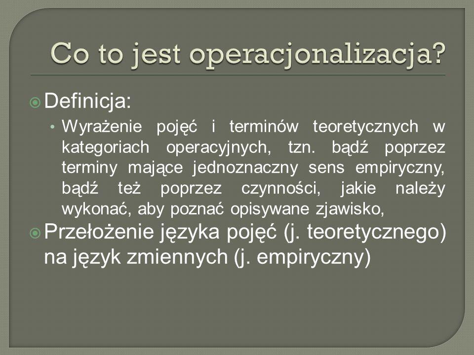 Definicja: Wyrażenie pojęć i terminów teoretycznych w kategoriach operacyjnych, tzn. bądź poprzez terminy mające jednoznaczny sens empiryczny, bądź te