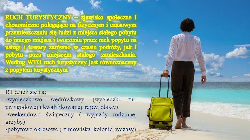 Węższym pojęciem od ruchu turystycznego jest międzynarodowy ruch turystyczny (cechą charakterystyczną, odróżniającą podróże turystyczne od tych o charakterze zarobkowym wydawanie pieniędzy przywiezionych do kraju świadczącego usługi turystyczne).