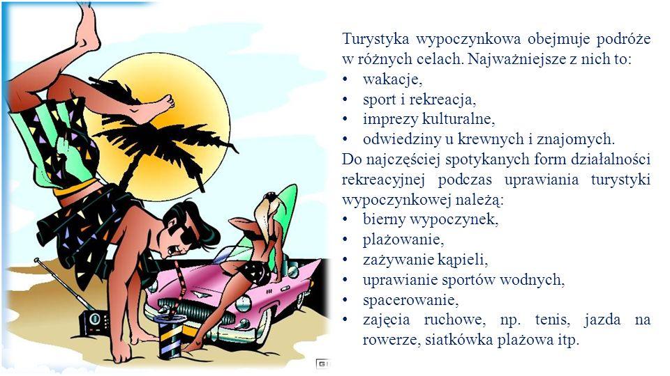 Turystyka wypoczynkowa obejmuje podróże w różnych celach. Najważniejsze z nich to: wakacje, sport i rekreacja, imprezy kulturalne, odwiedziny u krewny