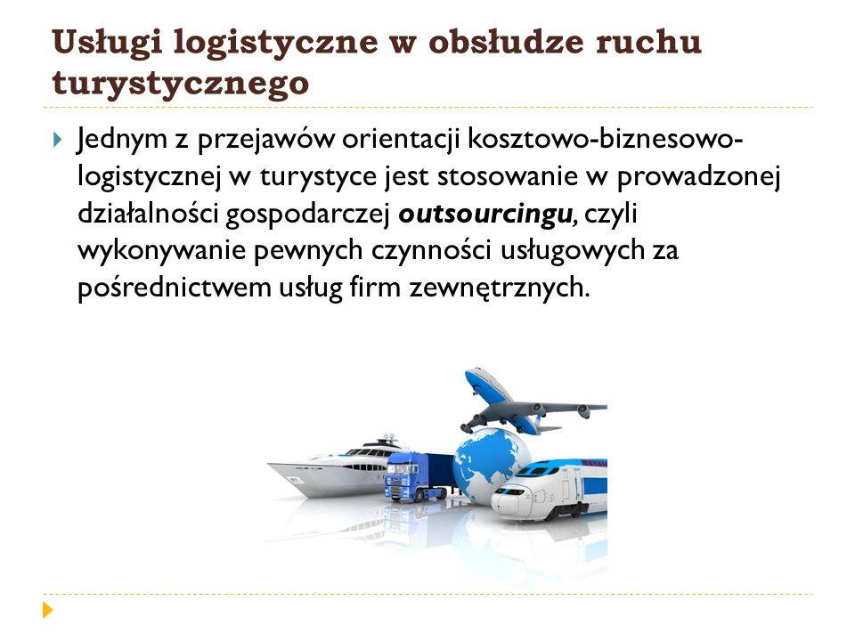 Usługi logistyczne w obsłudze ruchu turystycznego Jednym z przejawów orientacji kosztowo-biznesowo- logistycznej w turystyce jest stosowanie w prowadz