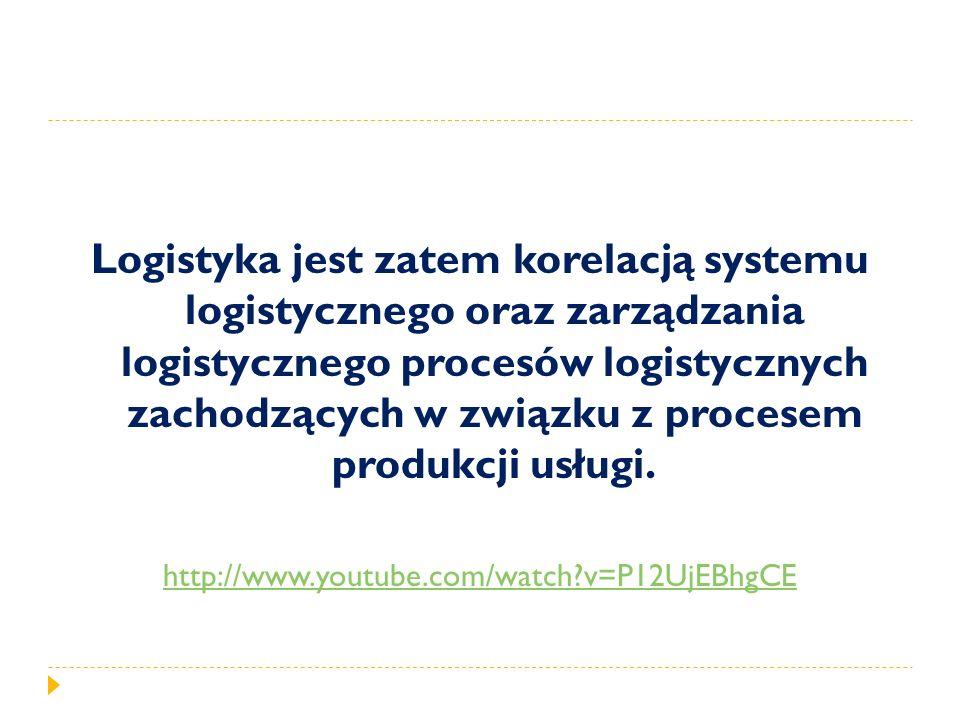Logistyka jest zatem korelacją systemu logistycznego oraz zarządzania logistycznego procesów logistycznych zachodzących w związku z procesem produkcji