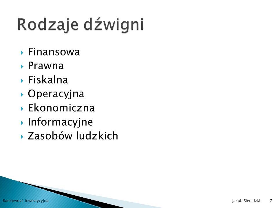Inwestycje, a dźwignia finansowa Corporate finance, a dźwignia finansowa Ryzyko a dźwignia finansowa Bankowość Inwestycyjna Jakub Sieradzki8