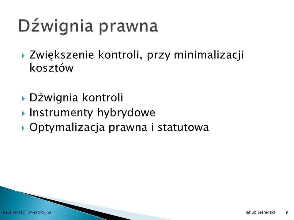Szukanie optymalnych systemów podatkowych Wykorzystywanie odpowiednich narzędzi Niezwykle trudna i kosztowna Bankowość Inwestycyjna Jakub Sieradzki10