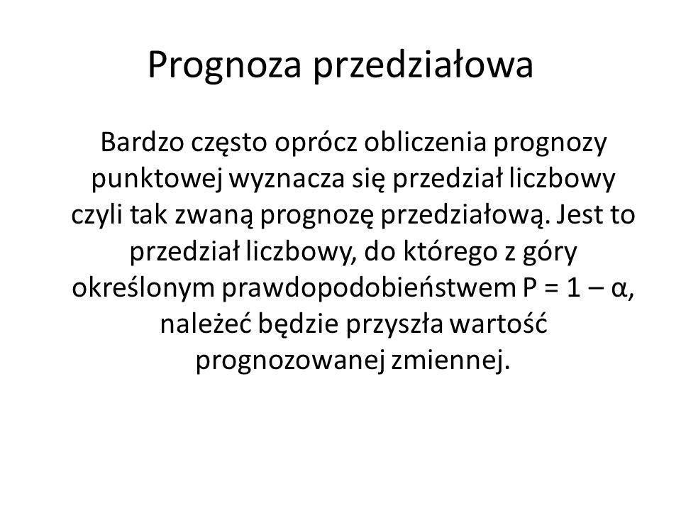 Prognoza przedziałowa Bardzo często oprócz obliczenia prognozy punktowej wyznacza się przedział liczbowy czyli tak zwaną prognozę przedziałową. Jest t