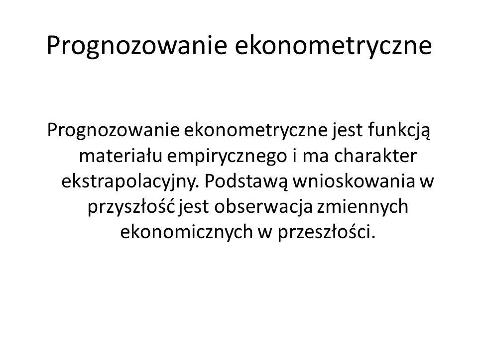 Prognozowanie ekonometryczne Prognozowanie ekonometryczne jest funkcją materiału empirycznego i ma charakter ekstrapolacyjny. Podstawą wnioskowania w