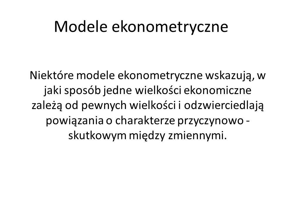 Modele ekonometryczne Jeżeli zjawisko ekonomiczne rozwijało się w przeszłości wskutek pewnego układu zmiennych objaśniających, jak to wskazuje model, to przewidywanie rozwoju tego zjawiska w przyszłości następuje przy założeniu, że zespół wspomnianych czynników nie ulegnie większym zmianom.