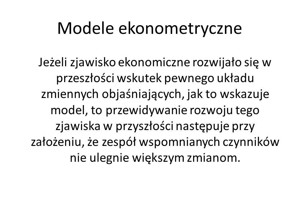 Modele ekonometryczne Przenoszenie w przyszłość przedstawionych modelowo powiązań ilościowych jest możliwe pod warunkiem przyjęcia potwierdzonych przez rzeczywistość założeń co do warunków panujący w okresie prognozowanym.