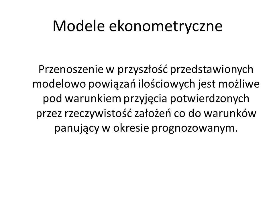 Modele ekonometryczne Przenoszenie w przyszłość przedstawionych modelowo powiązań ilościowych jest możliwe pod warunkiem przyjęcia potwierdzonych prze