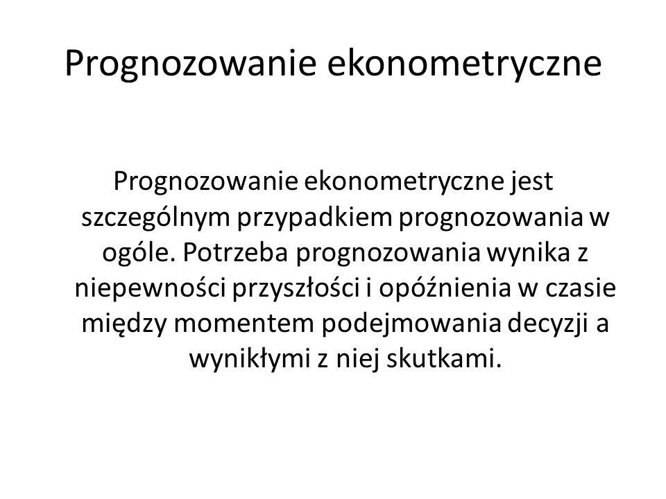 Prognozowanie ekonometryczne Prognozowanie ekonometryczne jest szczególnym przypadkiem prognozowania w ogóle. Potrzeba prognozowania wynika z niepewno