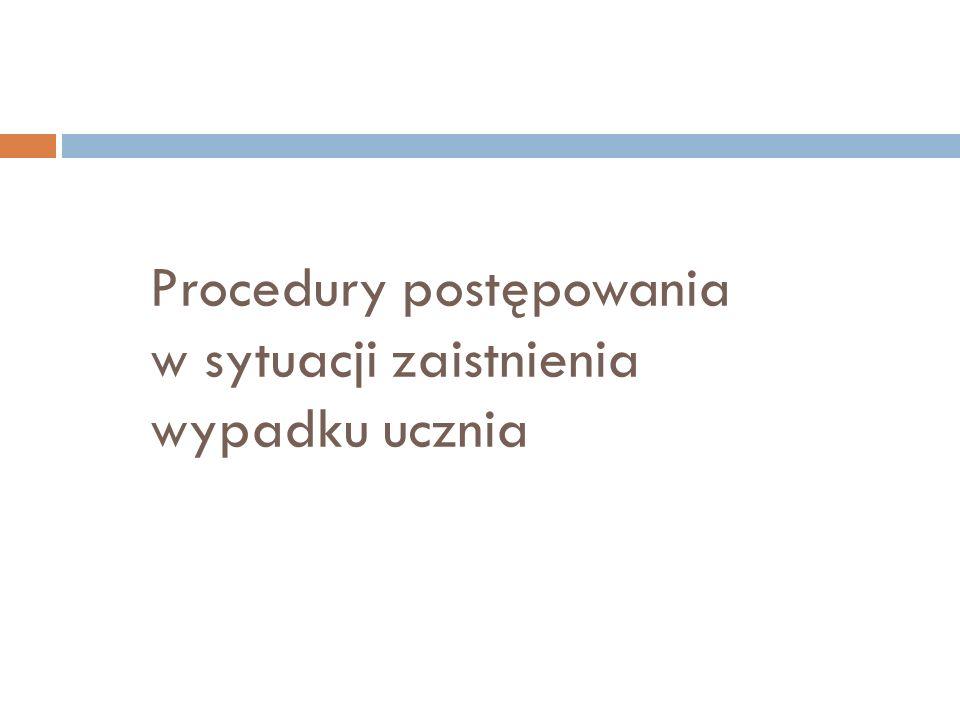 Procedury postępowania w sytuacji zaistnienia wypadku ucznia