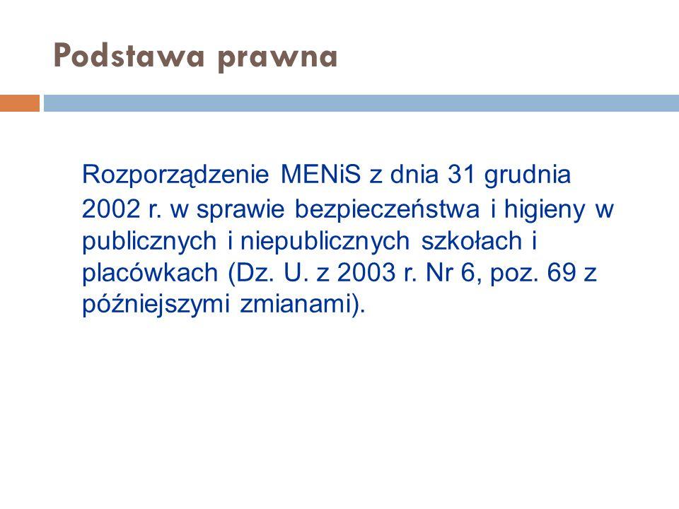 Podstawa prawna Rozporządzenie MENiS z dnia 31 grudnia 2002 r.