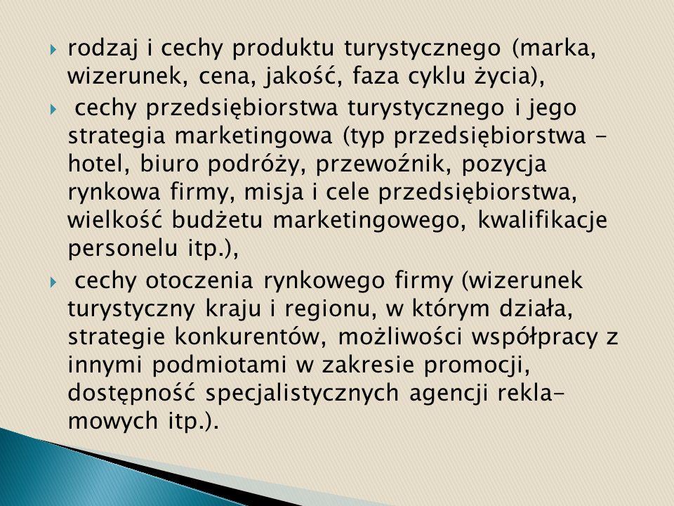 rodzaj i cechy produktu turystycznego (marka, wizerunek, cena, jakość, faza cyklu życia), cechy przedsiębiorstwa turystycznego i jego strategia market