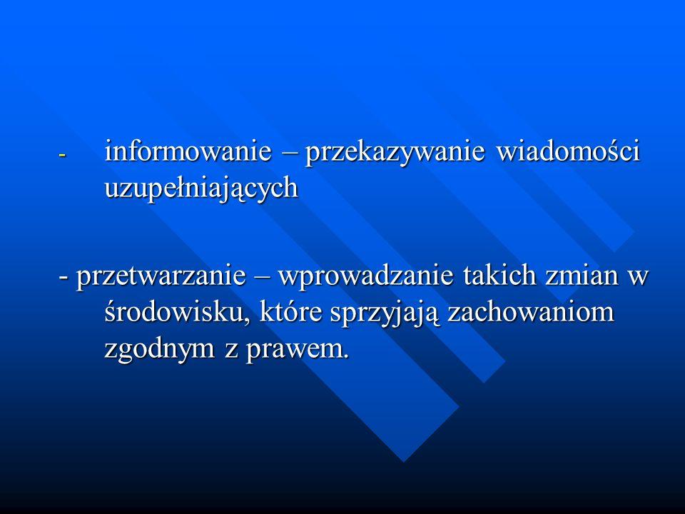 - informowanie – przekazywanie wiadomości uzupełniających - przetwarzanie – wprowadzanie takich zmian w środowisku, które sprzyjają zachowaniom zgodny